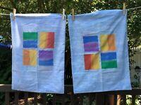 vintage Pillowcase pair abstract geometric orange yellow blue pattern