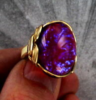 Dragons Breath Mexican Opal Glass  Ring in 14kt.. Rolled Gold  -- WIRE WRAPPED
