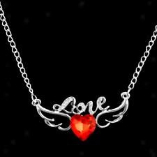 Fshion Angel Wings Red Crystal Heart Pendant Silver Chain Necklace Jewelry