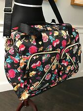 NWT Betsey Johnson Cargo Weekender Neverland Floral flowers overnight travel Bag