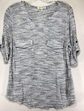 Faith and Joy Womens Lg Gray3/4 Tab Sleeve V Neck Knit Pullover Top  L4
