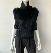 Anjara Garcia Wool Rabbit Fur Turtleneck Top Sweater Pullover Size Small Black
