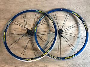 Rolf Vector Comp Road Bike Wheelset Shimano 8-9-10 Speed 700c w/ Skewers Blue