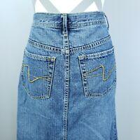 Zena Jeans Skirt Size 10 Modest Maxi Midi Blue Front Slit Hippie Western Flawed