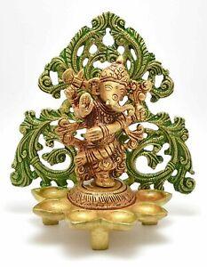 Brass Dancing Lord Ganesha Design Oil Wick Diya Lamp Home Decor Gift Item