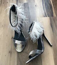 Topshop Womens High Heels Size 41 Feathers Brown Snakeskin Ankle Strap Open Toe