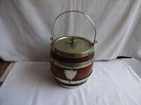 Antique Oak Biscuit Barrel with Silver Plated Mounts Daniel & Arter Sheffield