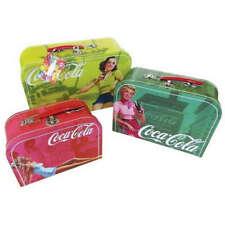3x Coca-Cola Coke Vintage Storage Cases Suitcase case Boxes Pin Ups with Handles