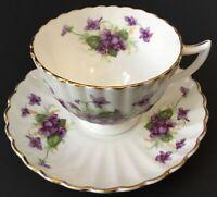 Vintage Radfords Bone China Tea Cup And Saucer Set~Purple Violets 8516~Scalloped