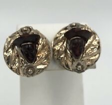 Antique Chinese Carved face Earrings Sterling Silver Gold Filled Screw Back