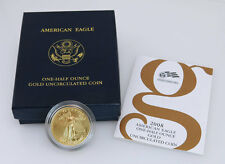 2008 W $25 Burnished Gold American Eagle 1/2 Troy Ounce US Gold Coin Box & COA