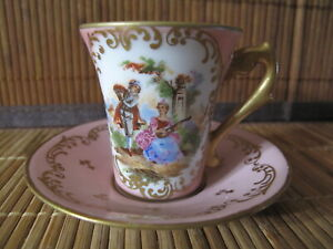 French Porcelain Hand Painted Demitasse Cup & Saucer Playing Couple & Gold Pink