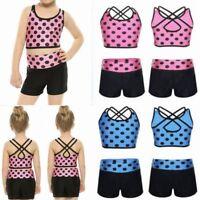 2PCS Girl Tankini Tank Top Bottoms Gym Fitness Yoga Sport Swimwear Ballet Dance