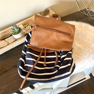 Madden Girl striped navy blue white backpack travel school bag Leather Flap