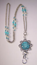 Teal and White Paisley Flower Beaded Lanyard Necklace / ID Badge Cruise Card