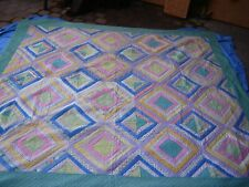 Vintage 84x76 Handmade Handsewn Handquilted Quilt Throw Blanket Patchwork