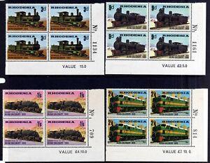 RHODESIA 1969 RAILWAYS MNH SHEET NUMBER BLOCKS, SG 431-434, 4 BLOCKS