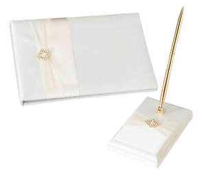 Ivory Satin Wedding Guest Book and pen set