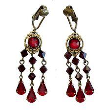 CLIP-ONS Red Austrian Crystal Teardrops Earrings NICKEL FREE Chandelier 6007