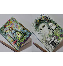 Set of two Goddess book of shadows A5 blank notebook Pagan Medieval drawing