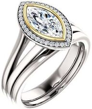 1.13 carat Marquise & round cut Diamond Halo Engagement 14k Two tone Gold Ring