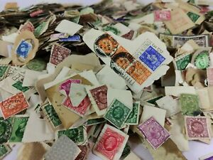 1282 OLD GB Genuine Kiloware. Mostly KGV KGVI. QV Seen. On-Paper. 100% UNSORTED!