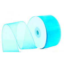 "1/4"" Plain Sheer Organza Nylon Ribbon 25 Yards - Aqua"