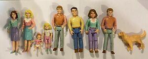 vintage 1990's Playskool Dollhouse People Mom Dad Kids Babies Figures Dog