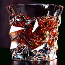2pcs Diamond-cut Whisky Glass Spirits Glass Scotch Whiskey Tumbler Cocktail Cup