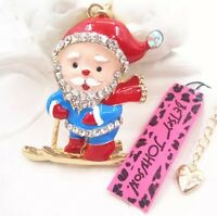 Betsey Johnson Necklace RETRO SANTA ON SKIS Christmas Gold Crystals Red Blue