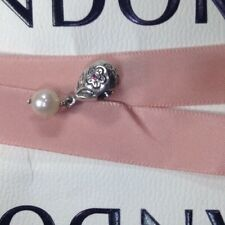 Authentic Pandora Pink Flower Hanging Pearl Bloom Charm #790546P