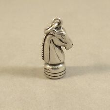 .925 Sterling Silver 3-D CHESS KNIGHT CHARM NEW Pendant Piece Game 925 HB33