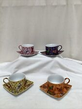 Set of 4 Butterfly Pattern Silea Espresso Coffee Cups with Saucers Exc Con