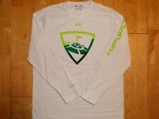 Under Armour Mens Heat Gear White Loose Large L Long Sleeve Golf Shirt Charged