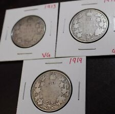 1912 1913 1914 50 cents Canada Good to VG