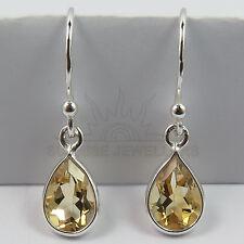 Genuine Fire CITRINE Pear Gemstones 925 Solid Sterling Silver Elegant Earrings