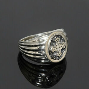 Solid 925 Sterling Silver Cross Symbol  Boys Mens Signet Ring Jewelry