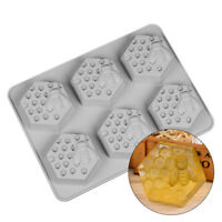 6 Cavity Silicone Cookie Handmade Soap Mould Honey Bee Design Ice Cube Mold