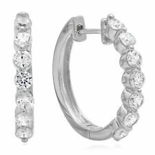 1 ct 7-Stone Round Latch-Back Hoop Earrings 14 White Gold