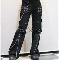 Women's hip hop gothic bell-bottoms punk pants chain rock Motorcycle trousers Sz