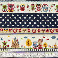 Cotton Fabric FQ Russian Doll Flower Star Bird Balloon Polka Dot Lace Stripe VP3
