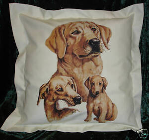 Hand Crafted Yellow Labradors dogs cushion cover