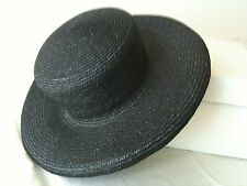Country Road Designer Women's Races Black Wide Brim Straw Hat Made In Italy #71