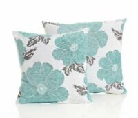 "DUCK EGG AQUA BLUE VELVET FLORAL POPPY FLOWER 18"" £4.99 EACH LINEN CUSHION COVER"