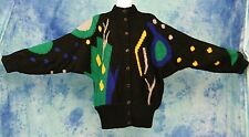 AMAZiNG ViNTAGE 80s OVERSiZED MOD ABSTRACT ART BATWiNG MOHAiR CARDiGAN SWEATER L