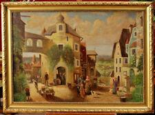 École Italienne du 19eme : huile sur toile figurant un paysage animé