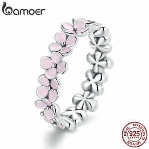 BAMOER S925 Sterling Silver Finger Ring Pink Enamel Wreath For Women Jewelry