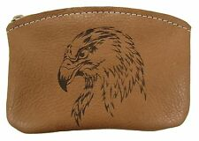 New Leather Engraved Bald Eagle Zippered Coin Pouch Change Purse USA Made