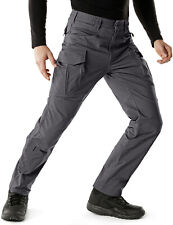 CQR Men's Flex Stretch Tactical Cargo Pants, Water Repellent Ripstop Work Pants