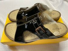 Softspots Caileen Black Patent Leather Slip On Sandals 11W New With Box